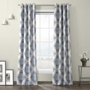 Henna Blue Grommet Blackout Curtain Single Panel