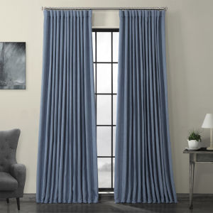 Blue Faux Linen Extra Wide Blackout Curtain Single Panel