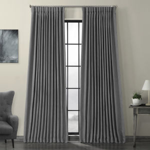 Grey Faux Linen Extra Wide Blackout Curtain Single Panel