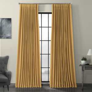 Gold Faux Linen Extra Wide Blackout Curtain Single Panel