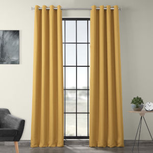 Gold 96 x 50-Inch Polyester Blackout Curtain Single Panel
