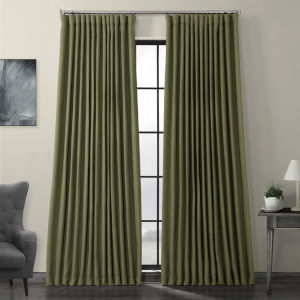 Teal Faux Linen Extra Wide Blackout Curtain Single Panel
