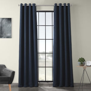 Blue 108 x 50-Inch Polyester Blackout Curtain Single Panel