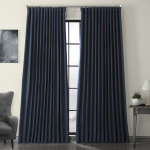 Blue Faux Linen Extra Wide Blackout Curtain Single Panel