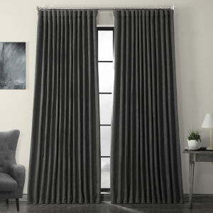 Green Faux Linen Extra Wide Blackout Curtain Single Panel