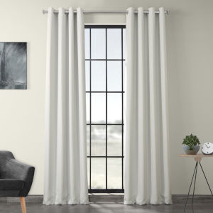White 120 x 50-Inch Polyester Blackout Curtain Single Panel