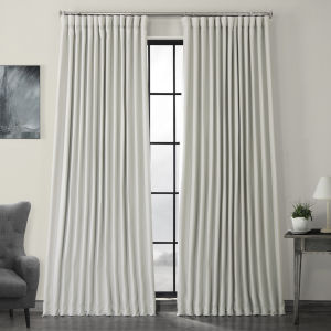 White Faux Linen Extra Wide Blackout Curtain Single Panel