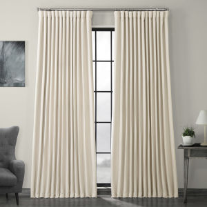 Ivory Birch Faux Linen Extra Wide Blackout Curtain Single Panel