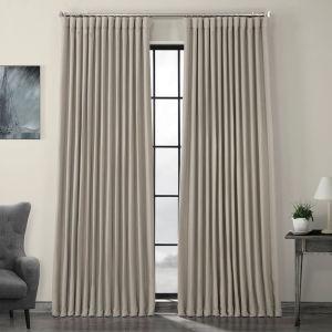 Beige Faux Linen Extra Wide Blackout Curtain Single Panel