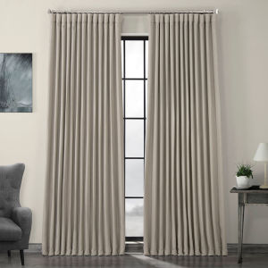 Beige Faux Linen Extra Wide Blackout Curtain Single Panel