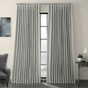 Heather Grey Faux Linen Extra Wide Blackout Curtain Single Panel