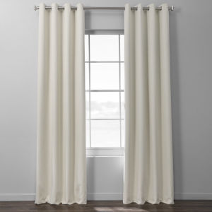 Ivory Italian Textured Faux Linen Hotel Blackout Grommet Curtain Single Panel