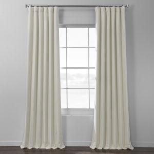Ivory Italian Textured Faux Linen Hotel Blackout Curtain Single Panel