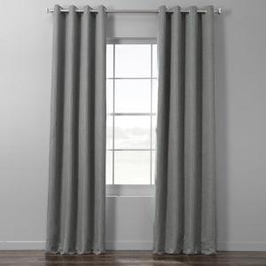 Pebble Grey Italian Textured Faux Linen Hotel Blackout Grommet Curtain Single Panel