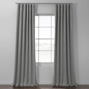 Pebble Grey Italian Textured Faux Linen Hotel Blackout Curtain Single Panel