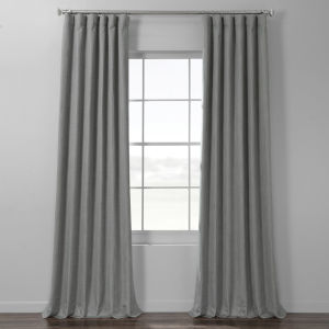 Pebble Grey Italian Textured Faux Linen Hotel Blackout Curtain Single Panel