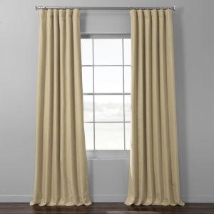 Beige Italian Textured Faux Linen Hotel Blackout Curtain Single Panel