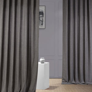 Italian Faux Linen Anchor Gray 50 in W x 96 in H Single Panel Curtain