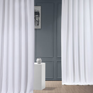 Italian Faux Linen Dove White 50 in W x 96 in H Single Panel Curtain