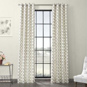 Illusions Silver Grey Grommet Printed Cotton Curtain Single Panel