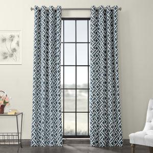 Martinique Blue Grommet Printed Cotton Curtain Single Panel
