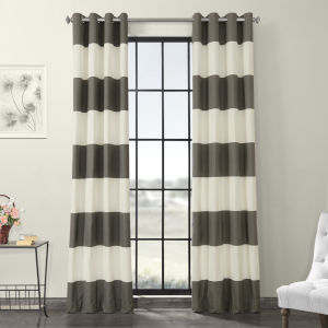 Slate Grey and OffWhite Horizontal Grommet Stripe Cotton Curtain Single Panel