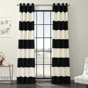 Black and OffWhite Horizontal Grommet Stripe Cotton Curtian Single Panel