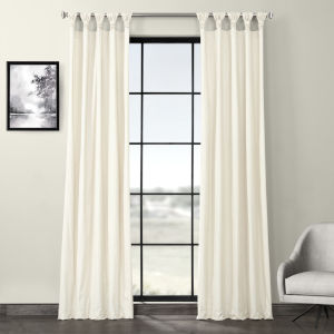 Ivory Solid Cotton Deluxe Tab Top Curtain Single Panel