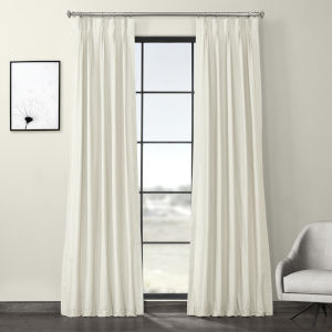 Ivory Solid Cotton Pleated Curtain Single Panel