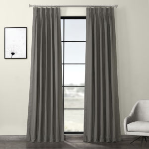 Millstone Gray Solid Cotton Pleated Curtain Single Panel