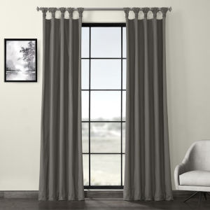 Millstone Gray Solid Cotton Deluxe Tab Top Curtain Single Panel