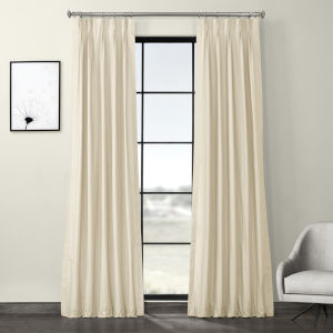 Cream Solid Cotton Pleated Curtain Single Panel