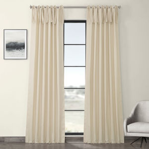 Cream Solid Cotton Tie-Top Curtain Single Panel