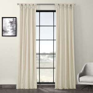 Cream Solid Cotton Deluxe Tab Top Curtain Single Panel