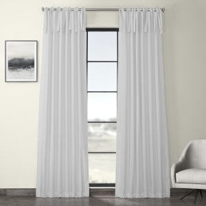 White Solid Cotton Tie-Top Curtain Single Panel