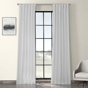 White Solid Cotton Curtain Single Panel