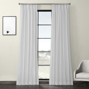 White Solid Cotton Pleated Curtain Single Panel
