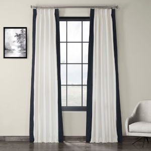 Fresh Popcorn and Polo Navy Pleated Vertical Colorblock Curtain Single Panel