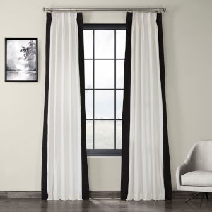 Fresh Popcorn and Black Pleated Vertical Colorblock Curtain Single Panel