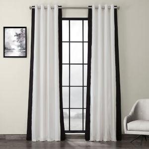 Fresh Popcorn and Black Grommet Vertical Colorblock Curtain Single Panel