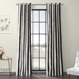 Cabana Black Grommet Printed Cotton Curtain Single Panel