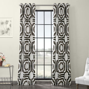 Brown Grommet Printed Cotton Curtain Single Panel