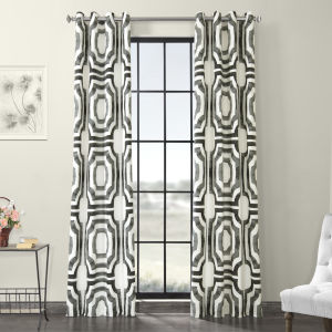 Steel Grommet Printed Cotton Curtain Single Panel