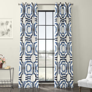Blue Grommet Printed Cotton Curtain Single Panel
