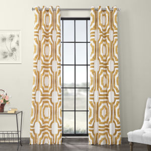 Gold Grommet Printed Cotton Curtain Single Panel
