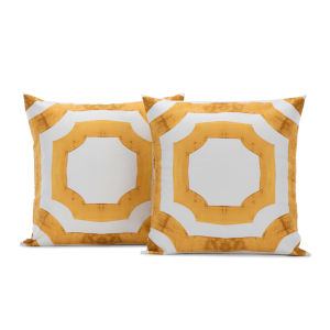 Mecca Gold Printed Cotton Cushion Cover, Set of 2