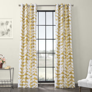 Triad Gold Grommet Printed Cotton Twill Curtain Single Panel