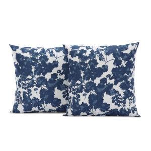 Fleur Blue Printed Cotton Cushion Cover, Set of 2