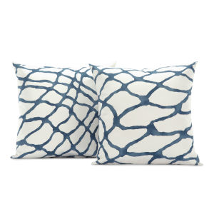 Ellis Blue Printed Cotton Pillow Cover, Set of 2