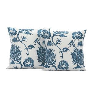 Duchess Blue Printed Cotton Cushion Cover, Set of 2